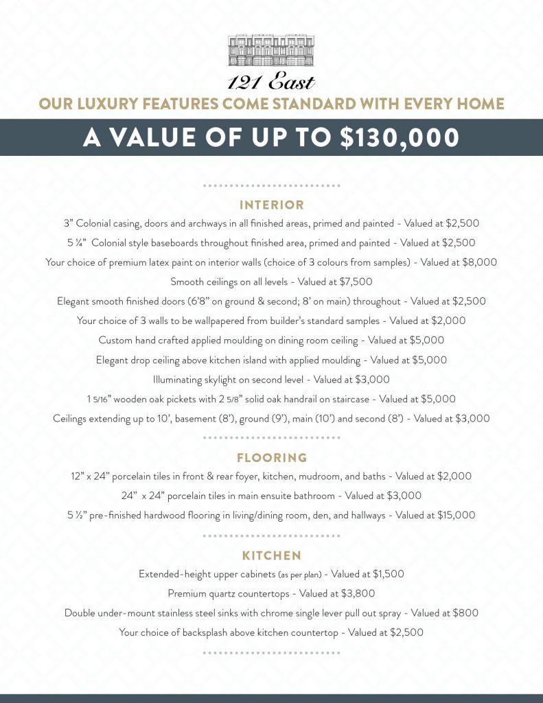 121 East Oakville Luxury Features List